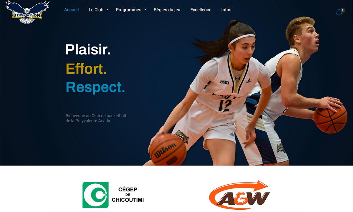 Site web Club de basketball Bleu et Or