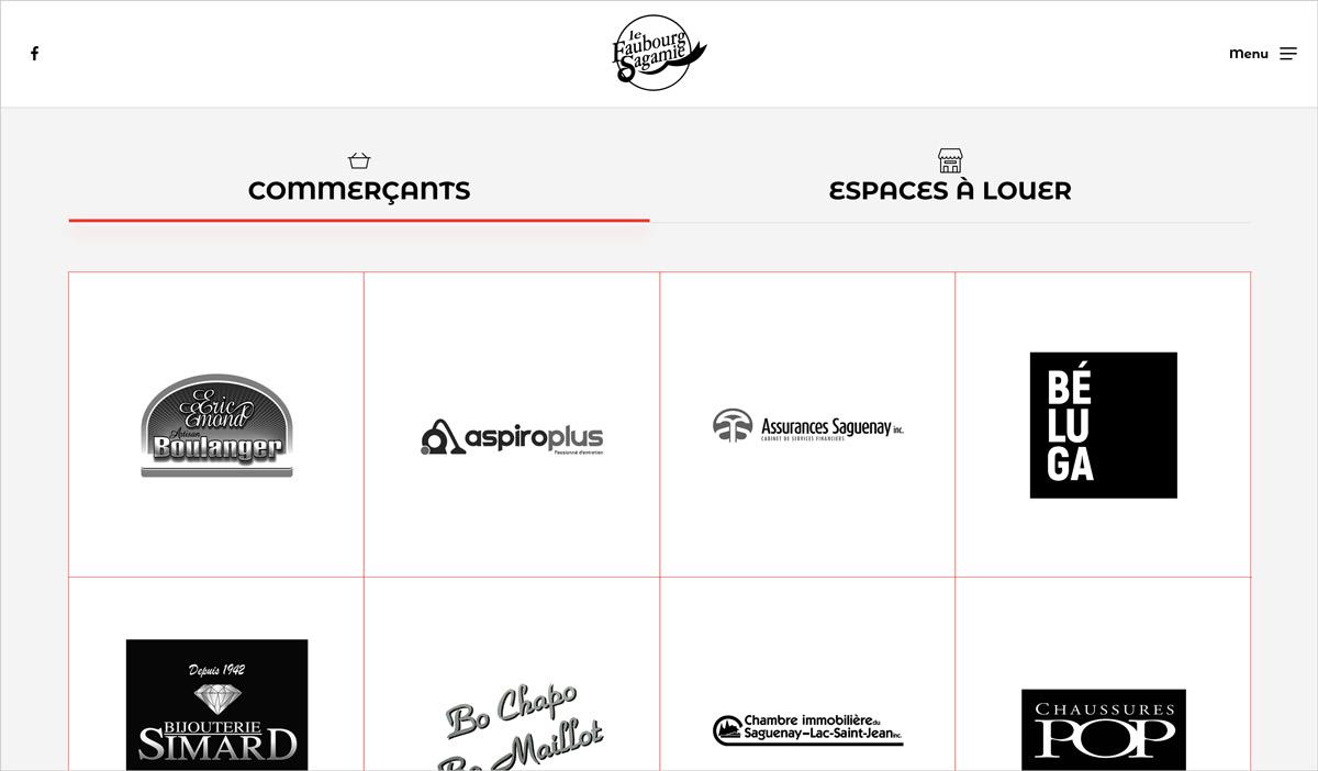 Site web Faubourg Sagamie